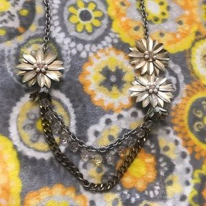 Loft Metal Flower Mixed Media Statement Necklace